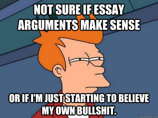 not sure if essay arguments make sense or if im just starti - Futurama Fry