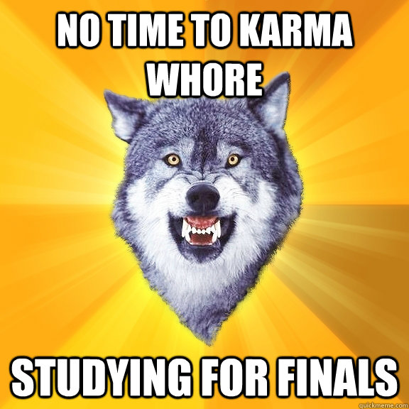 no time to karma whore studying for finals - Courage Wolf
