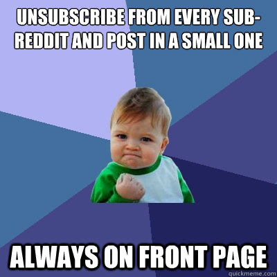 unsubscribe from every subreddit and post in a small one al - Success Kid