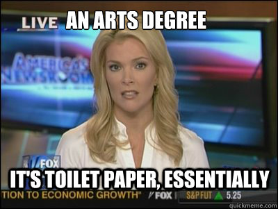 an arts degree its toilet paper essentially - Megyn Kelly