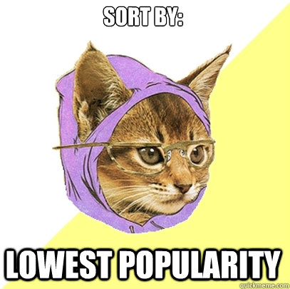 sort by lowest popularity - Hipster Kitty