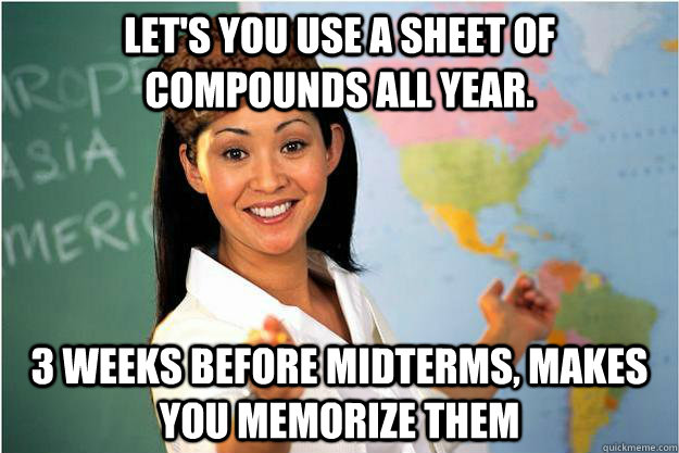 lets you use a sheet of compounds all year 3 weeks before - Scumbag Teacher