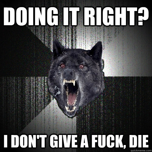 doing it right i dont give a fuck die - Insanity Wolf
