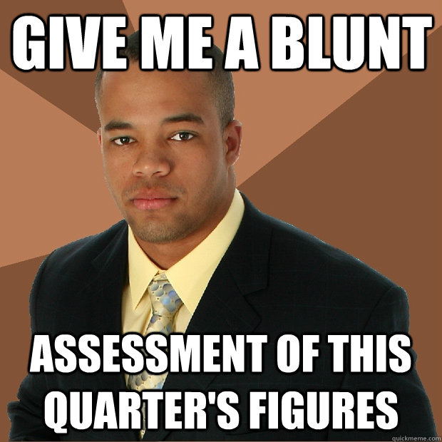 give me a blunt assessment of this quarters figures - Successful Black Man