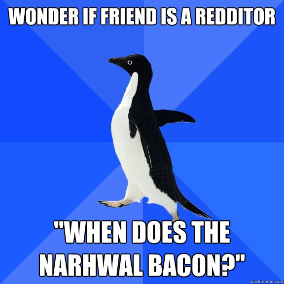 wonder if friend is a redditor when does the narhwal bacon - Socially Awkward Penguin