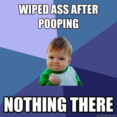 wiped ass after pooping nothing there - Success Kid