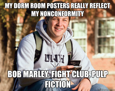 my dorm room posters really reflect my nonconformity bob m - College Freshman