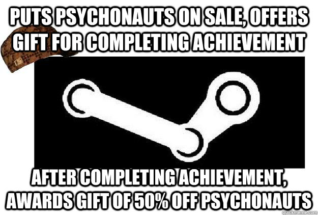 puts psychonauts on sale offers gift for completing achieve - Scumbag Steam