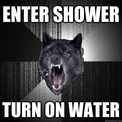 enter shower turn on water  - Insanity Wolf