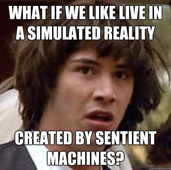 what if we like live in a simulated reality created by senti - conspiracy keanu