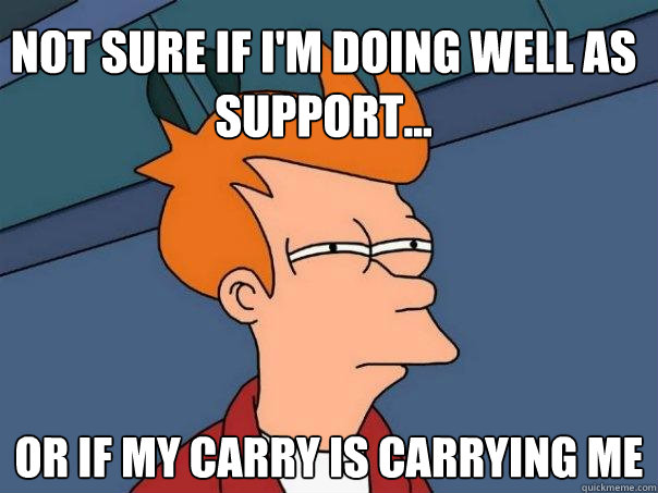 not sure if im doing well as support or if my carry is c - Futurama Fry