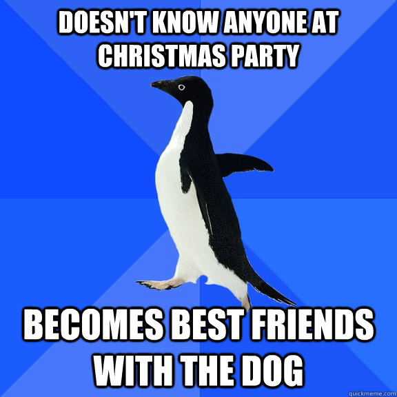 doesnt know anyone at christmas party becomes best friends  - Socially Awkward Penguin