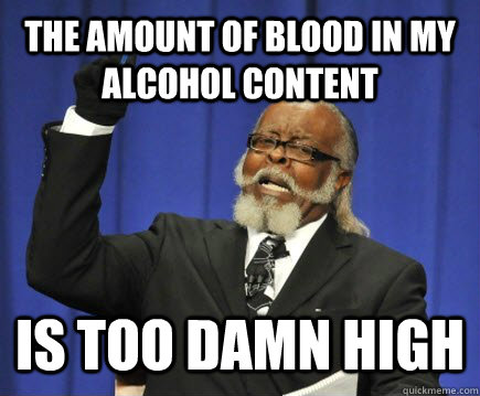 the amount of blood in my alcohol content is too damn high - Too Damn High