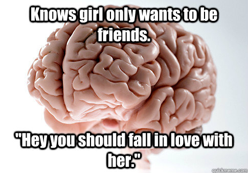 knows girl only wants to be friends hey you should fall in - Scumbag Brain
