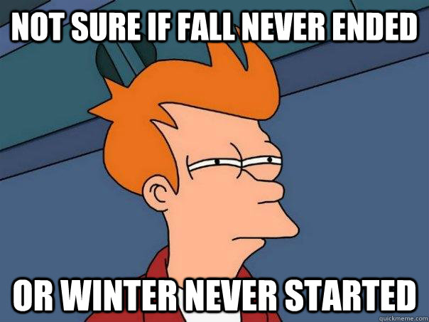 not sure if fall never ended or winter never started - Futurama Fry