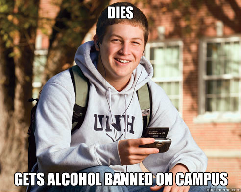 dies gets alcohol banned on campus - College Freshman