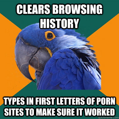 clears browsing history types in first letters of porn sites - Paranoid Parrot