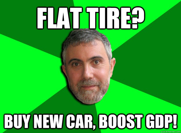 flat tire buy new car boost gdp - Advice Krugman