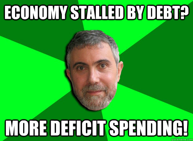 economy stalled by debt more deficit spending - Advice Krugman