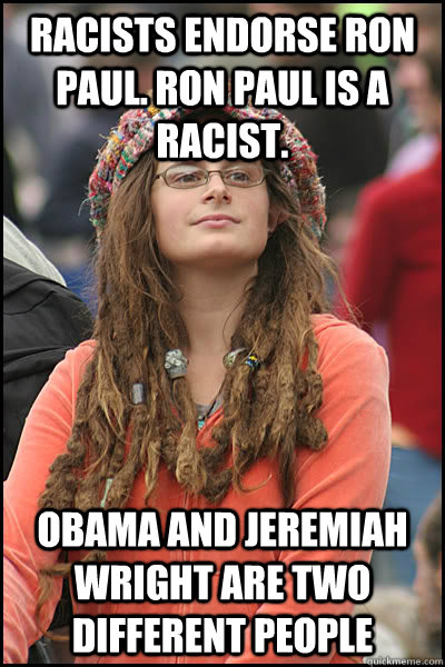 racists endorse ron paul ron paul is a racist obama and je - College Liberal