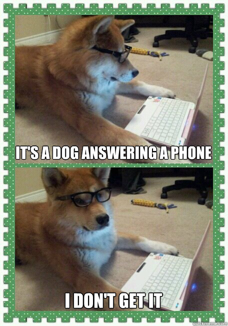 its a dog answering a phone i dont get it - Hello