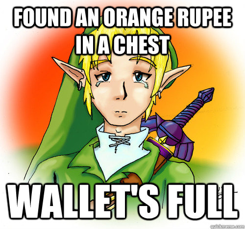 found an orange rupee in a chest wallets full - First World Hyrule Problems