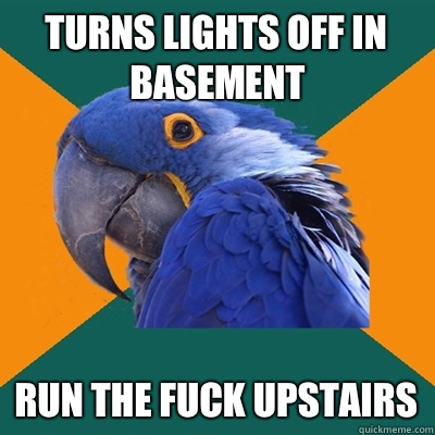 TURNS LIGHTS OFF IN BASEMENT RUN BEFORE IT CATCHES ME - Paranoid Parrot