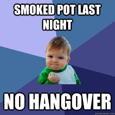 smoked pot last night no hangover - Success Kid
