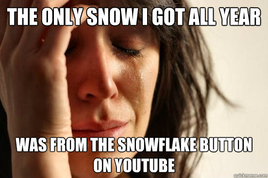 the only snow i got all year was from the snowflake button  - First World Problems