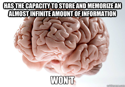 has the capacity to store and memorize an almost infinite am - Scumbag Brain