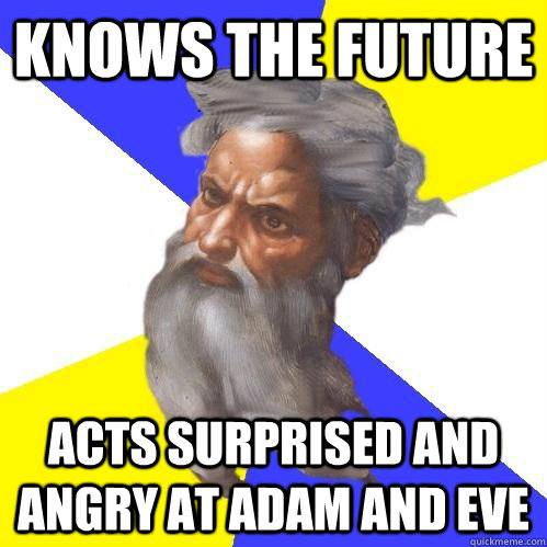 knows the future acts surprised and angry at adam and eve - Advice God