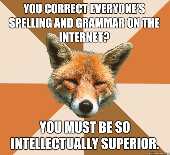You correct everyones spelling and grammar on the Internet Y - Condescending Fox
