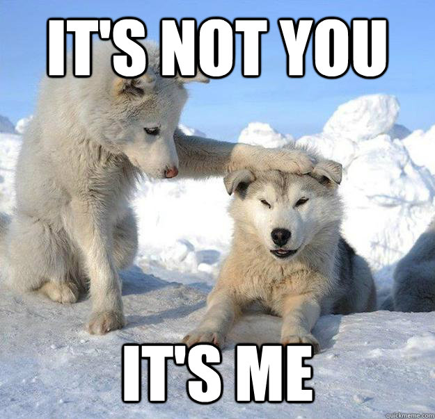 its not you its me  - Caring Husky
