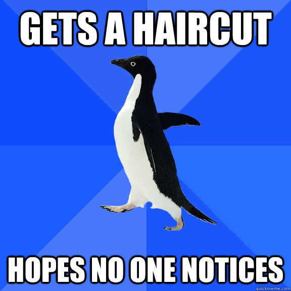 gets a haircut hopes no one notices - Socially Awkward Penguin