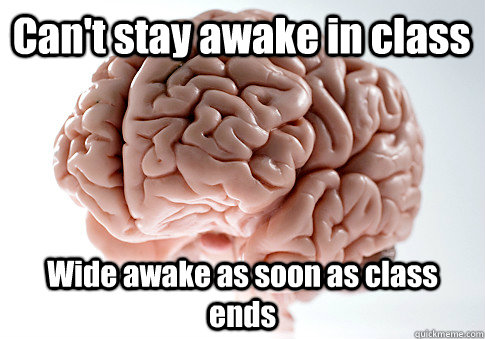 cant stay awake in class wide awake as soon as class ends - Scumbag Brain