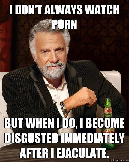 i dont always watch porn but when i do i become disgusted  - The Most Interesting Man In The World