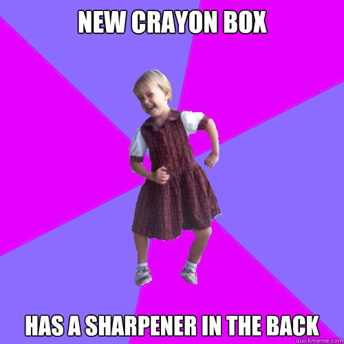 new crayon box has a sharpener in the back - Socially awesome kindergartener