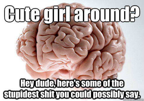 cute girl around hey dude heres some of the stupidest s - Scumbag Brain