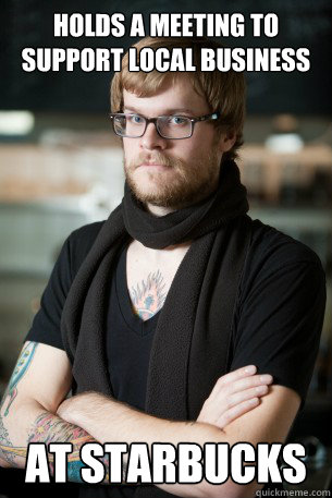 holds a meeting to support local business at starbucks - Hipster Barista