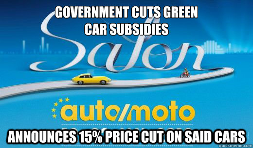 government cuts green car subsidies announces 15 price cut - 