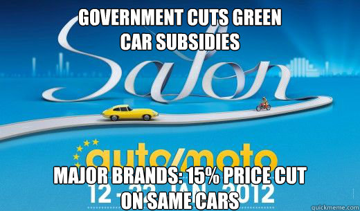 government cuts green car subsidies major brands 15 price -
