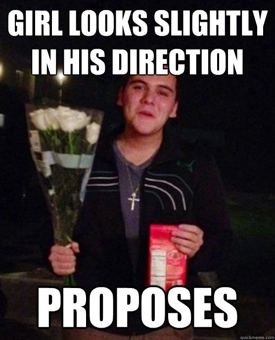 girl looks slightly in his direction proposes - Friendzone Johnny