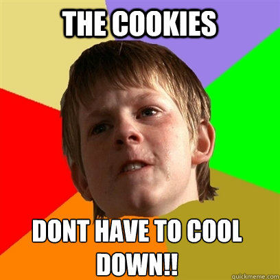 the cookies dont have to cool down - Angry School Boy