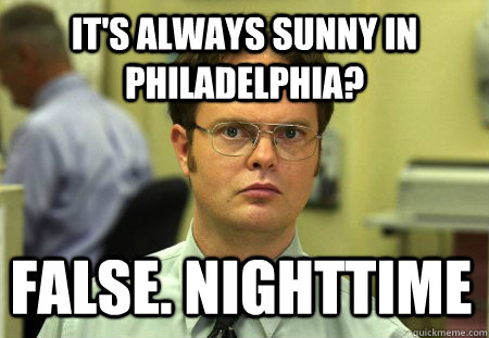 its always sunny in philadelphia false nighttime - Dwight