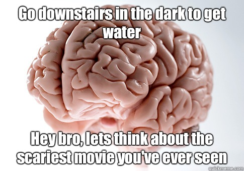 Go downstairs in the dark to get water Hey bro lets think ab - Scumbag Brain