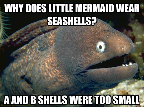 why does little mermaid wear seashells a and b shells were  - Bad Joke Eel