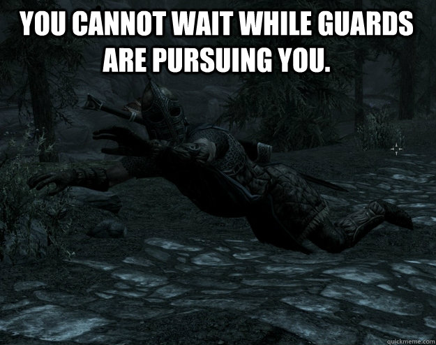 you cannot wait while guards are pursuing you - Pursing Guards