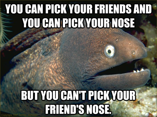 you can pick your friends and you can pick your nose but you - Bad Joke Eel