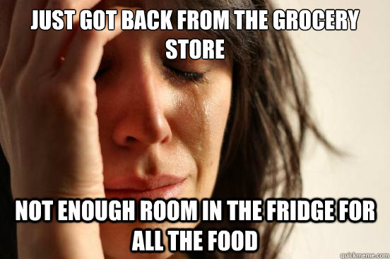 just got back from the grocery store not enough room in the  - First World Problems