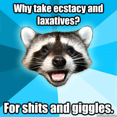 why take ecstacy and laxatives for shits and giggles - Lame Pun Coon